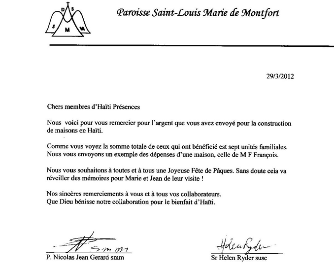 Lettre de remerciement | Haïti Présences